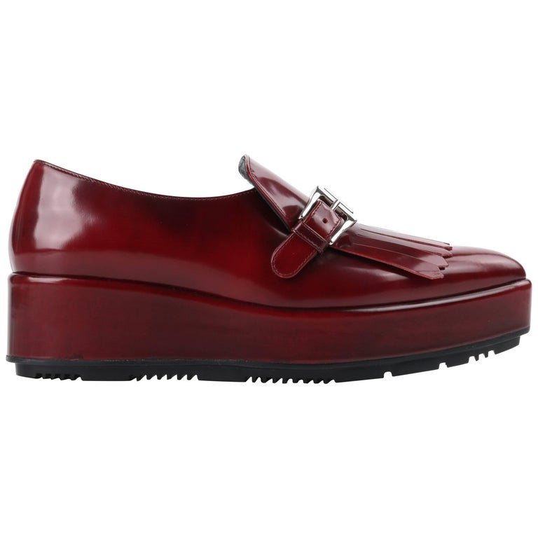 0a5a657aad073 PRADA A/W 2013 Burgundy Red Spazzolato Leather Pointed Toe Platform Oxford  Shoe