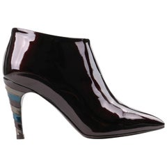 "LOUIS VUITTON c.2009 ""Jealous"" Amarante Patent Leather Pointed Toe Ankle Booties"