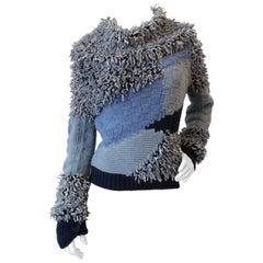 1990s Escada Multi Knit Textured Cowlneck Sweater