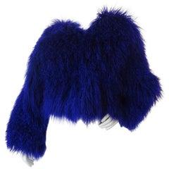 1980s Purple Mongolian Lamb Fur Coat