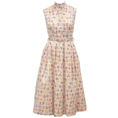 Adorable 1950's Two Piece Dress Set With Fruit Print