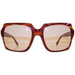 Oversized 1970's Italian Square Tortoise Eyeglasses Sunglasses