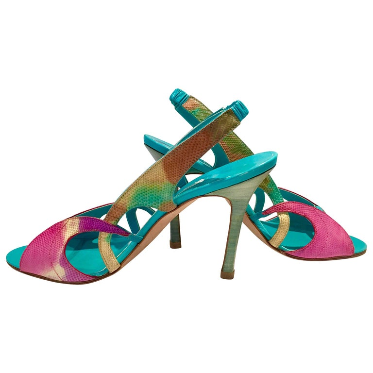 2013 New Pair Of Manolo Blahnik Multi-Color Python Sling Back Sandals For Sale