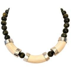 Vintage & bModern Sterling Silver Tigers Eye Bead & Bone Choker Style Necklace