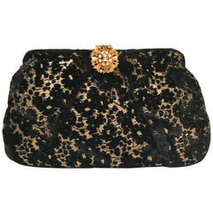 Vintage Lace and Velvet Evening Bag by, Garay