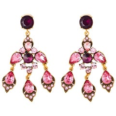 Oscar de la Renta Fuchsia Chandelier Earrings