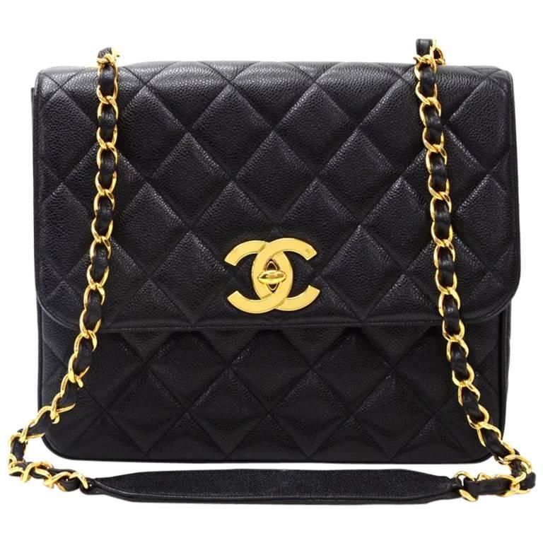 """d62104dc9632 Chanel Bag Large Logo. Chanel 10"""" Black Quilted Leather Shoulder Flap  ..."""