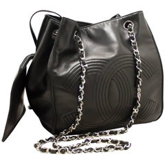CHANEL Chain Shoulder Bag Black Silver Lambskin Leather Pouch CC