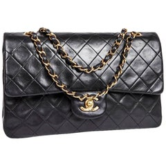 CHANEL 'Timeless' Double Flap Bag in Black Lambskin Leather