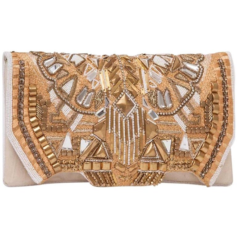 BALMAIN 'Patricia' Leather-Wrapped and Embroidered Clutch