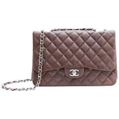 CHANEL 'Jumbo' Flap Bag in Quilted Brown Leather