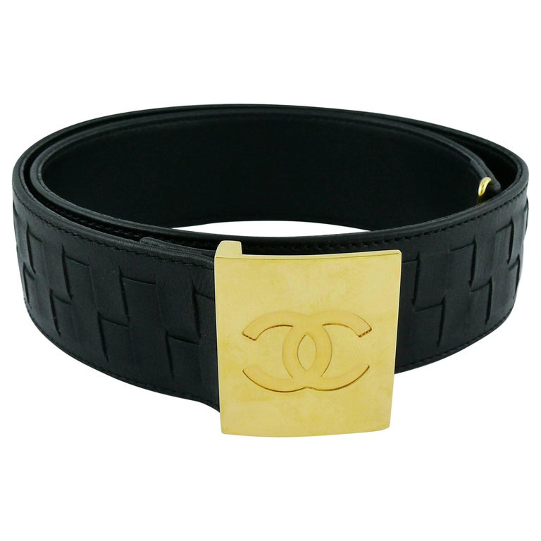Chanel Vintage Black Braided Calf Leather Belt with CC Buckle Spring 1997
