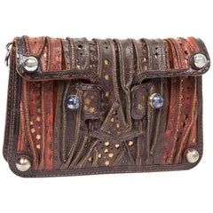 Rare FENDI Flap Bag in Multi-Leathers and Silk Velvet