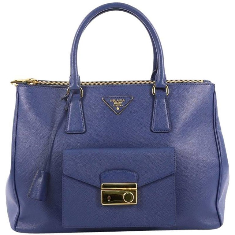 Prada Front Pocket Double Zip Lux Tote Saffiano Leather Medium 1