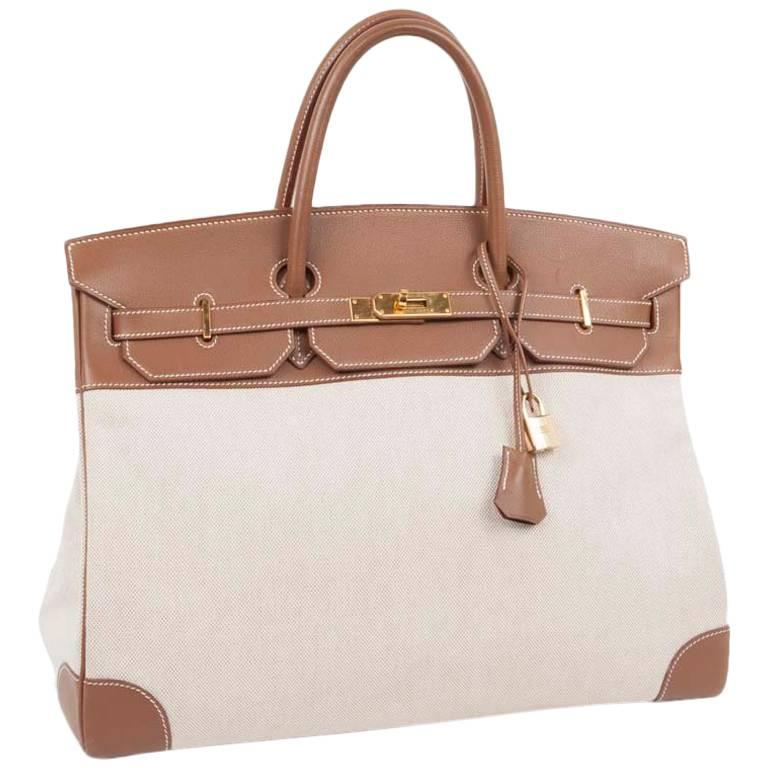 HERMES 'Birkin' 40 Bag in Ecru Canvas and Gold Epsom Calf Leather
