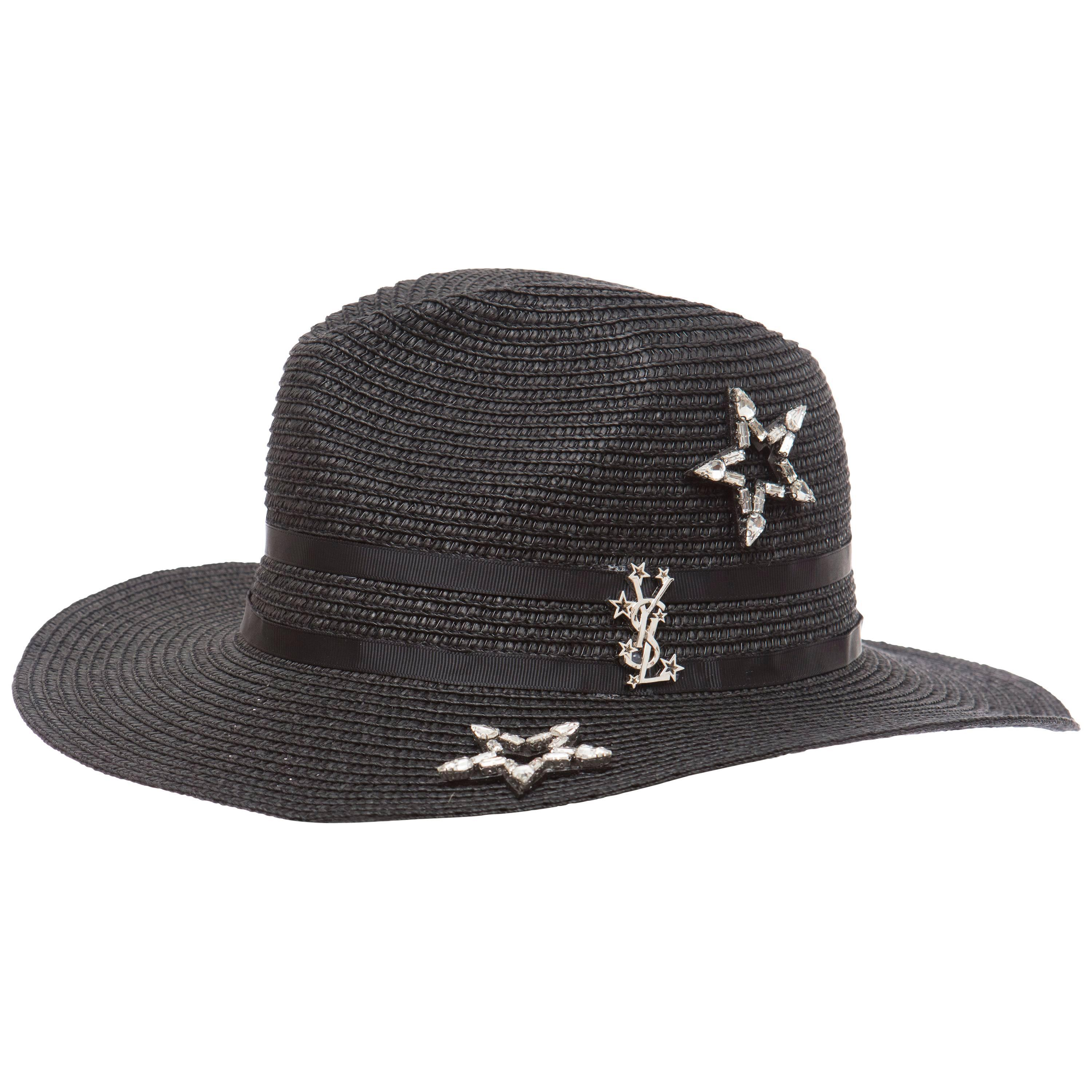 b3859038a9c Yves Saint Laurent Black Straw Hat With Crystal Stars And Black Grosgrain  Trim at 1stdibs