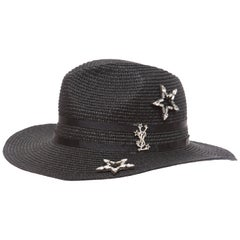 Yves Saint Laurent Black Straw Hat With Crystal Stars And Black Grosgrain Trim