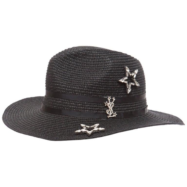 Yves Saint Laurent Black Straw Hat With Crystal Stars And Black Grosgrain Trim