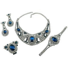 Vintage Sapphire and Clear Crystal Necklace Bracelet Earrings & Brooch Set