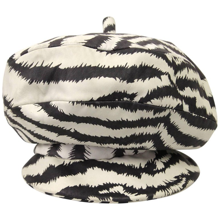 1990s Isotta Zerri Zebra-Striped Hat