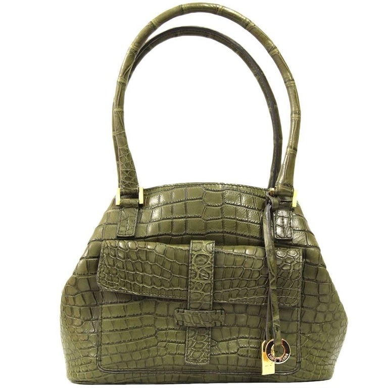 2000s Loro Piana Green Crocodile Leather Handbag