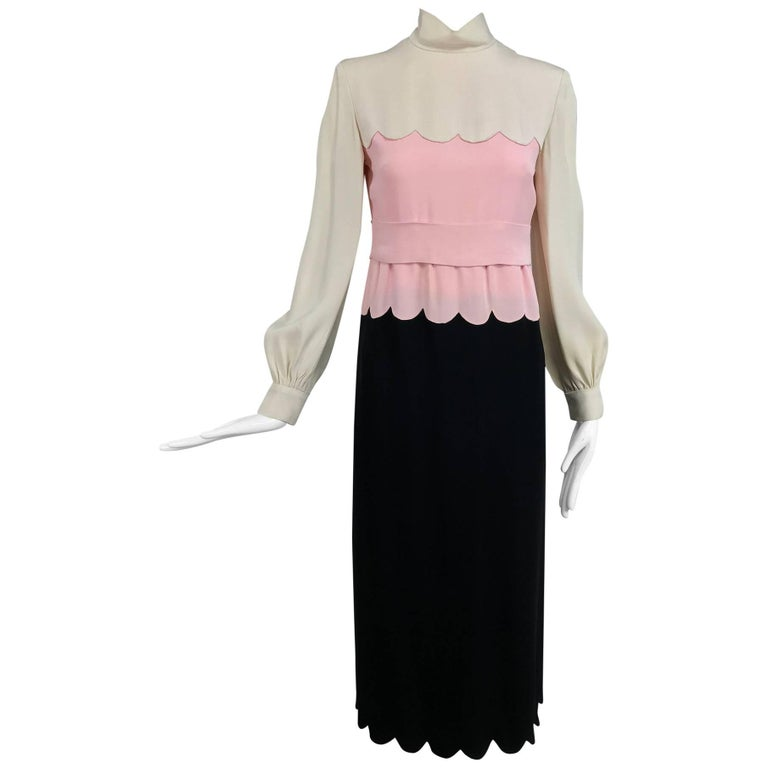 Donald Brooks scalloped crepe dress in cream pink and black 1960s
