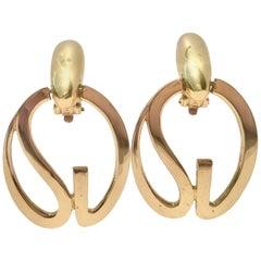 """St. John Gold """"SJ"""" Logo Dangle Statement Earrings"""