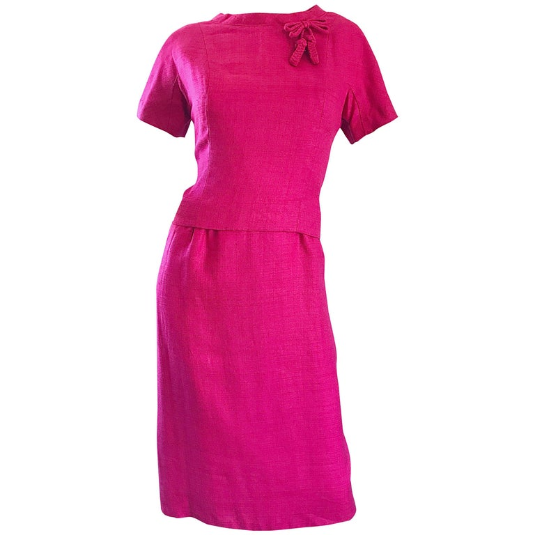 Chic 1960s Demi Couture Raspeberry Pink Silk Shift Dress and Top Vintage 60s Set 1
