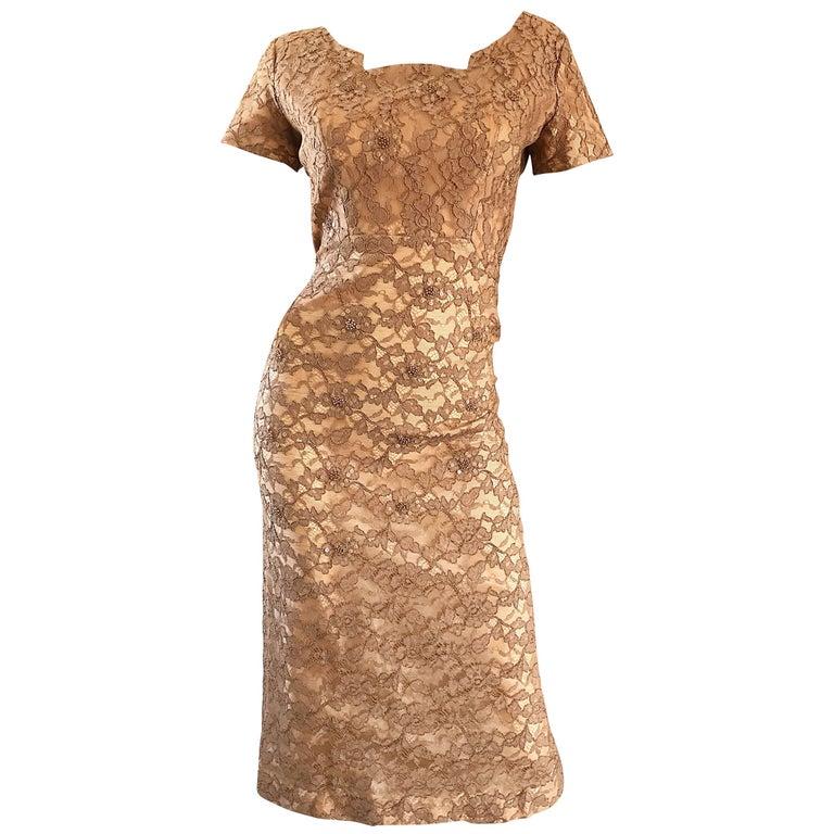 Gorgeous 1950s Demi Couture Tan Beige Nude Silk Lace Sequins 50s Vintage Dress