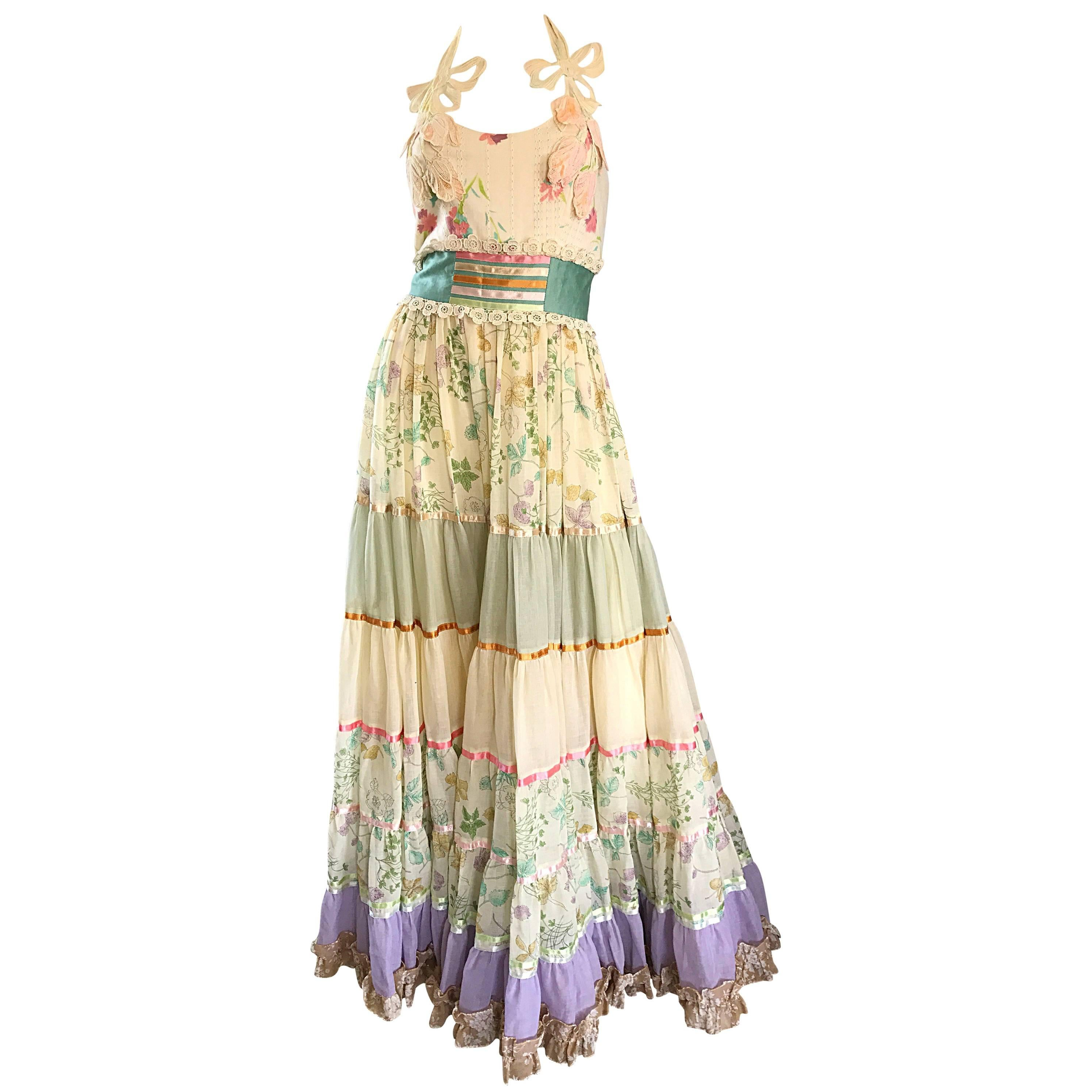 Giorgio di Sant Angelo Colorful Cotton Voile 70s Couture Maxi Dress Gown