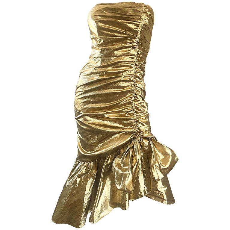 Amazing 1980s Gold Lame Avant Garde 80s Vintage Tail Asymmetrical Bow Dress For