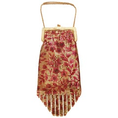 80'S Whiting & Davis Gold Metal Mesh Flapper Fringe Evening Bag