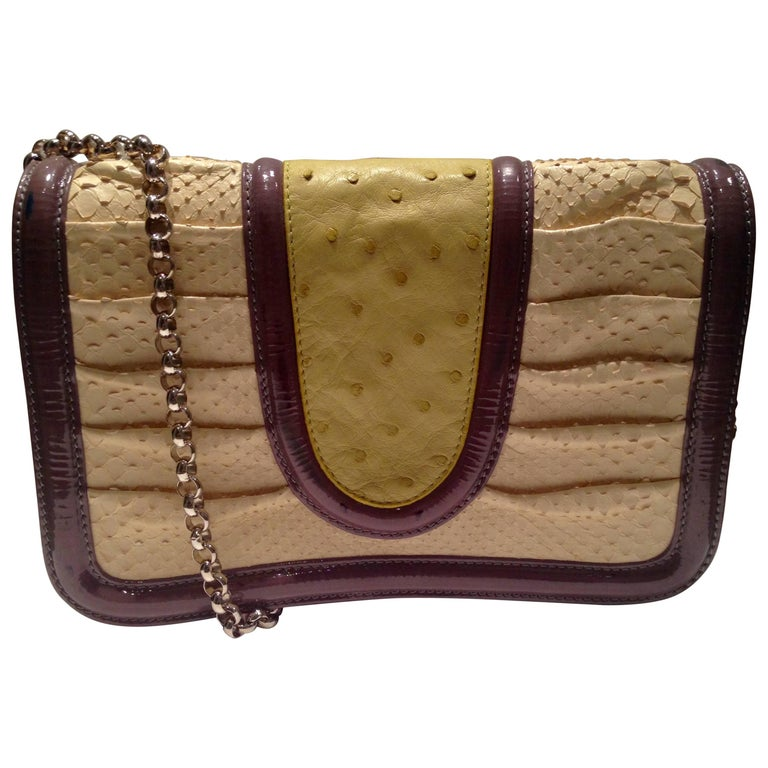 Contemporary Python, Ostrich & Patent Leather Hand Bag By, Patric Sweeney