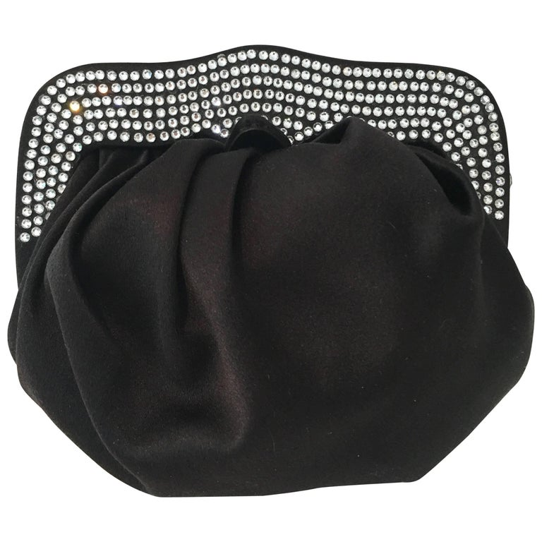 "St. John Silk Satin & Swarovski Crystal Encrusted ""Wristlet"" Evening Bag"