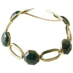 14K Gold Oval Link Bracelet with Octagonal Bloodstones