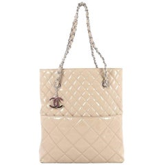 Chanel In The Business Tote Quilted Patent Vinyl North South