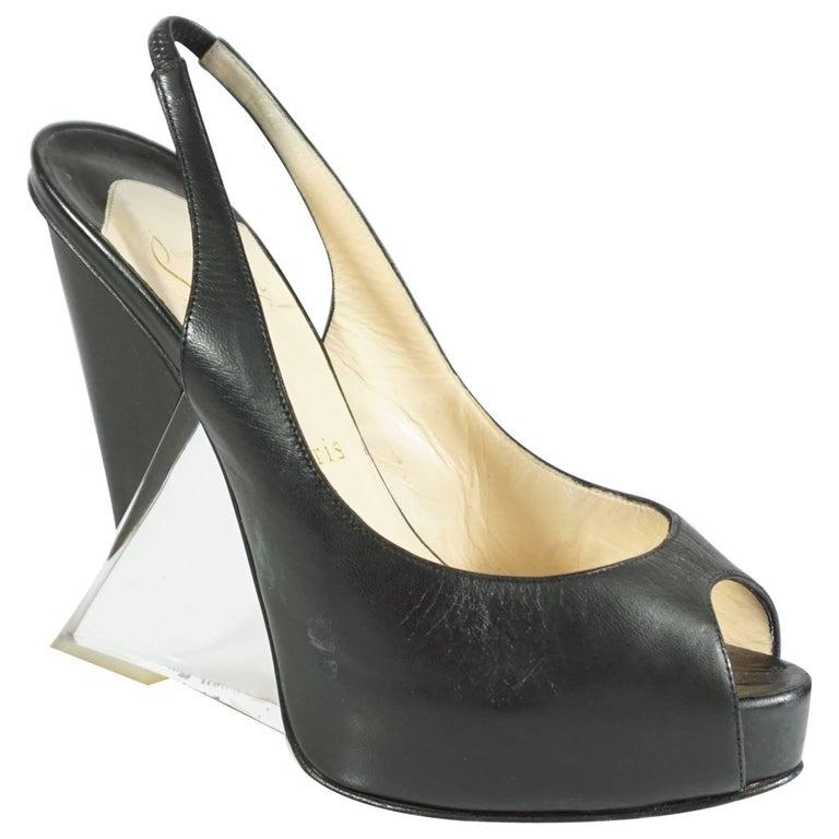 Christian Louboutin Black Leather and Lucite Slingback Peeptoe Platform, 37.5
