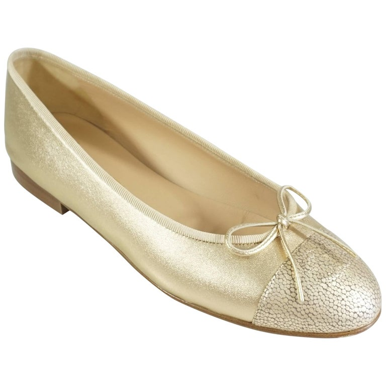 Chanel Gold Stingray Embossed Ballerina Flats - 39 1