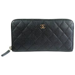 Chanel Black Caviar Leather Zippy Wallet