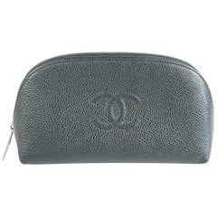 Chanel Black Caviar Leather Make-Up Case