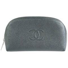 Chanel Black Caviar Leather Make-Up Case