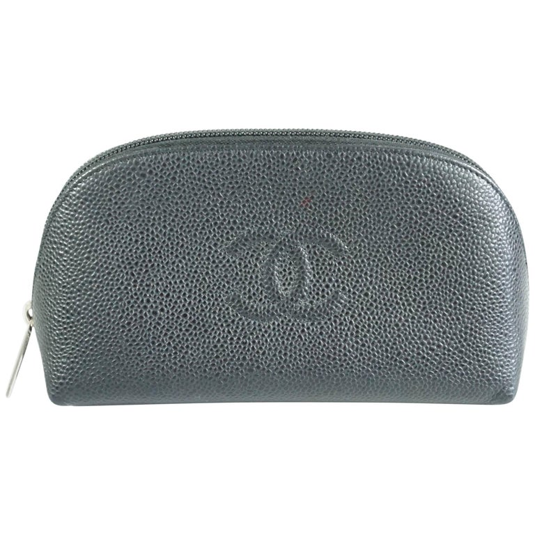 Chanel Black Caviar Leather Make-Up Case  For Sale