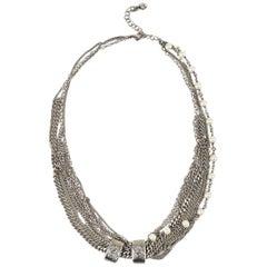 Chanel Silver Tone Chain Link Faux Pearl 'CC' Multi Strand Necklace