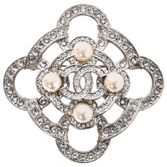 Chanel Pave Crystal and Pearl CC Brooch with Box