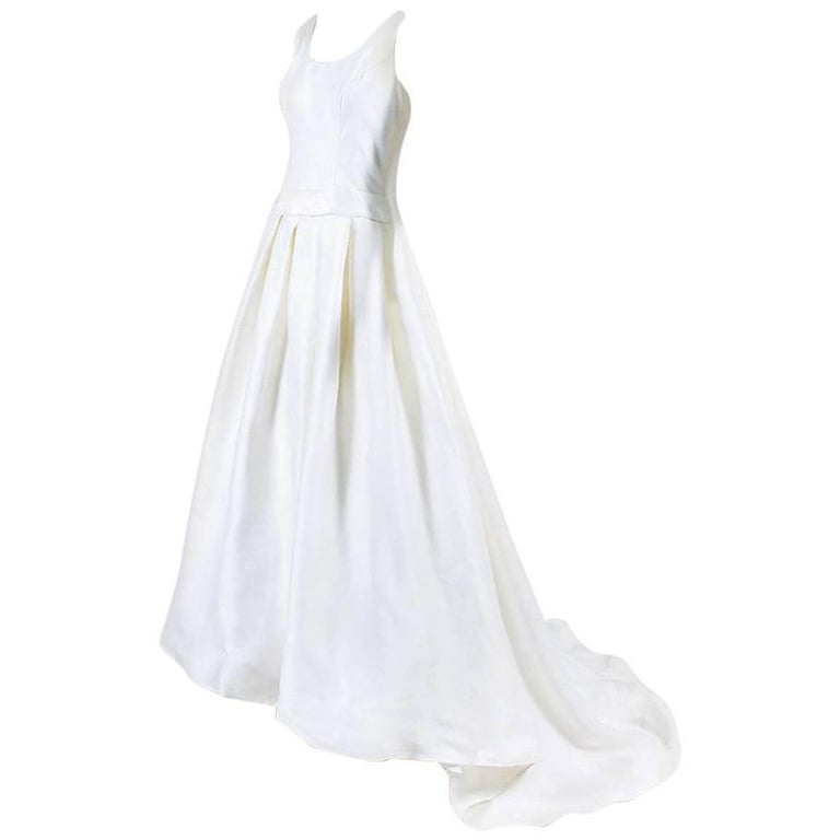 Christian Dior Wedding Gowns: Christian Dior White Silk Pleated A Line Bridal Gown At