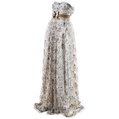 Dolce & Gabbana NWT $15500 Mauve Silk Floral Applique SL Embroidered Gown SZ 44