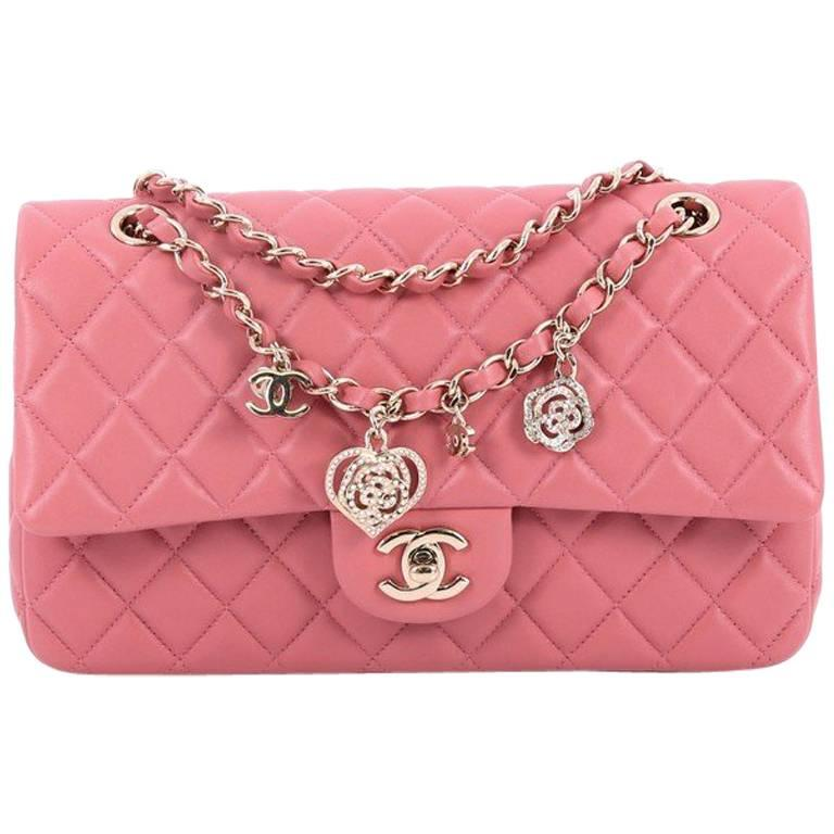 68d8dc577940e6 Chanel Valentine Crystal Hearts Flap Bag Quilted Lambskin Medium For Sale