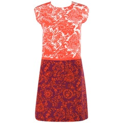 GUCCI Resort 2012 Orange & Purple Floral Print Silk Colorblock Shift Dress NWT