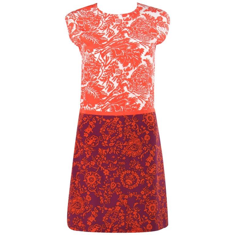 GUCCI Resort 2012 Orange & Purple Floral Print Silk Colorblock Shift Dress NWT