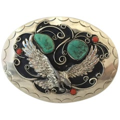 Vintage Navajo Silver Turquoise & Coral Belt Buckle By, Squaw Wrap